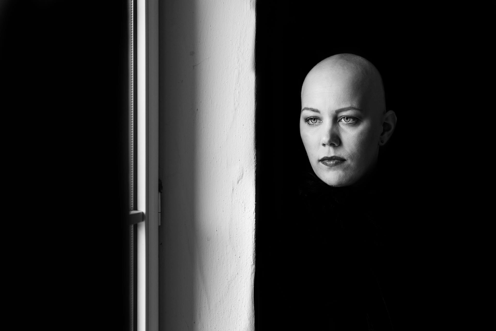 Harald Peter, Christine Raab, Aschaffenburg, schwarz-weiß, Glatze, Frau, Fotoshooting, Make-Up Artist, (3)